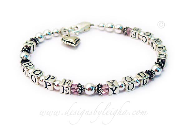 I HOPE YOU DANCE bracelet with Pink Swarovski Crystals and an add-on Beaded Heart Charm - DBL-MB-19