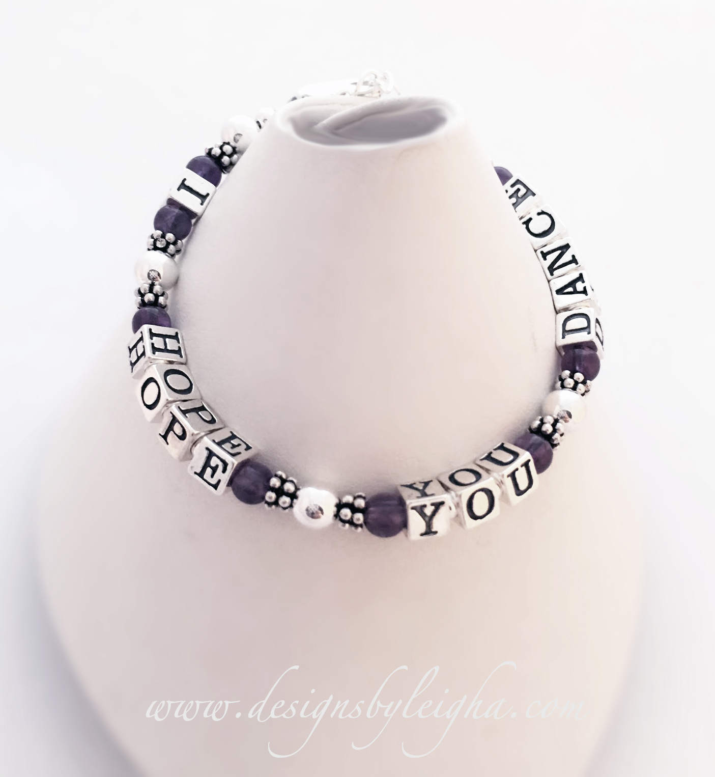 "This I HOPE YOU DANCE Gemstone Bracelet is shown with genuine Amethyst gemstones. The bracelet shown is for a teen and is 6 1/2"". I can do any size. If you want it in an adult size I can either add more sterling silver balls in between the words or you can move up to the 5.5mm block letters (special order)."