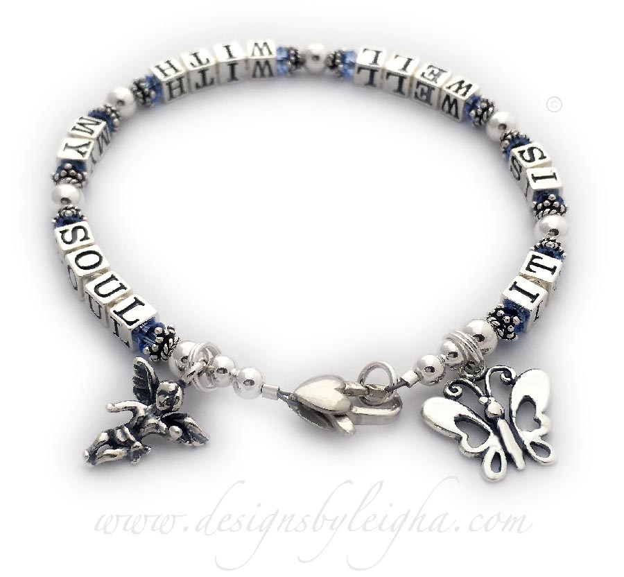 It Is Well With My Soul Bracelet with a Heart Lobster claw clasp and 2 Charms: Angel with Wings and Butterfly - Extra Large shown - 8 1/4""