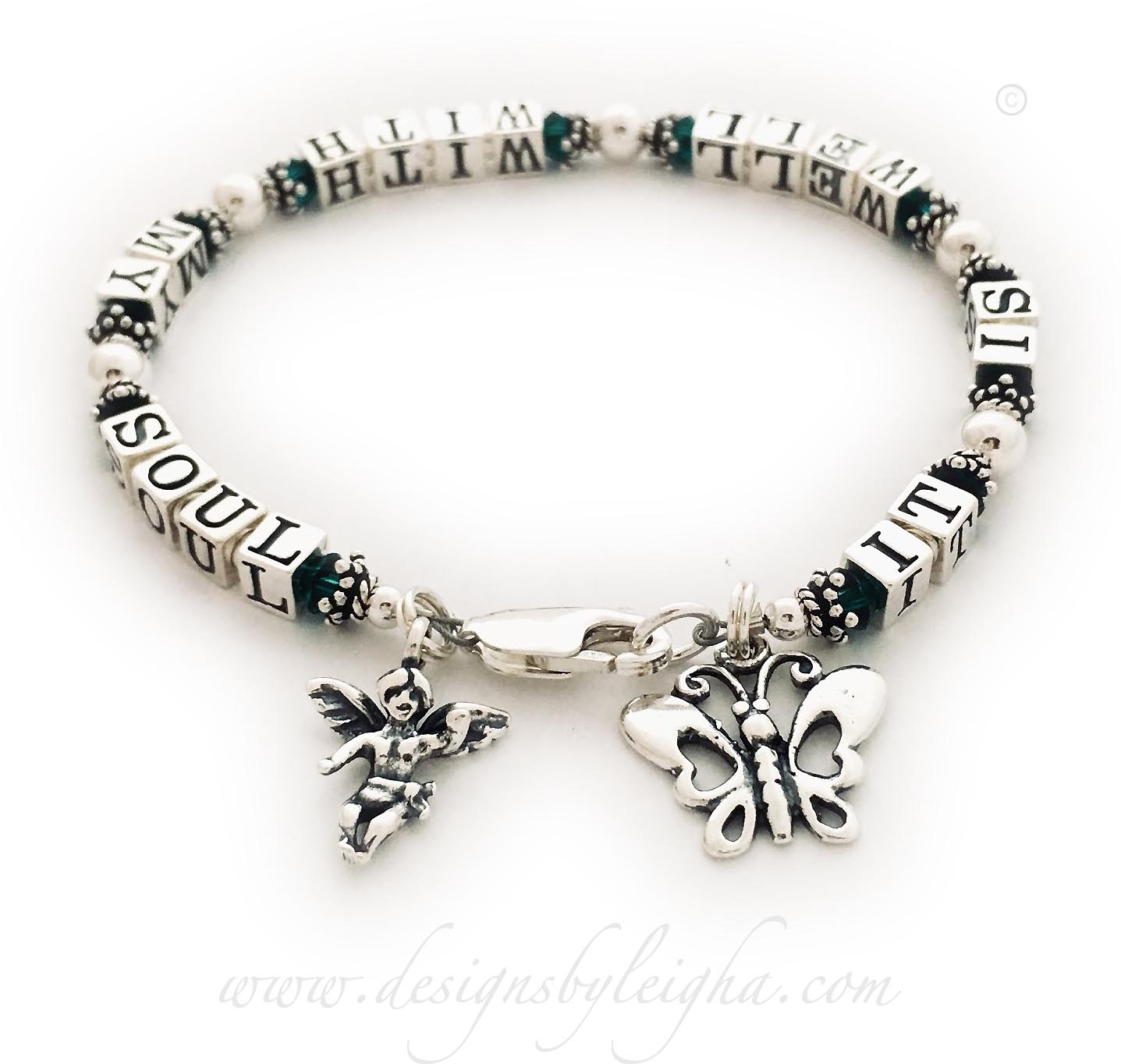 IT IS WELL WITH MY SOUL Bracelet  Shown with Emerald or May Birthstone Crystals and a lobster claw clasp. *They added 2 charms to their bracelet order: Angel with Wings charm and an Ornate Butterfly charm.