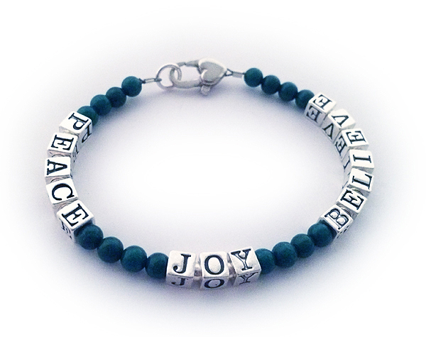 Peace Joy Beleive  Bracelet with Jade Gemstones