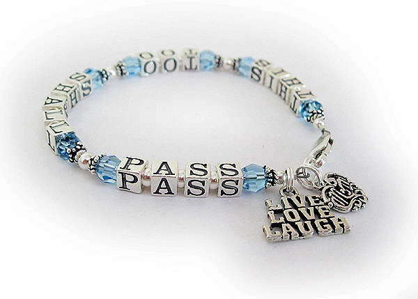This Too Shall Pass Bracelet - with March or Aquamarine Crystals