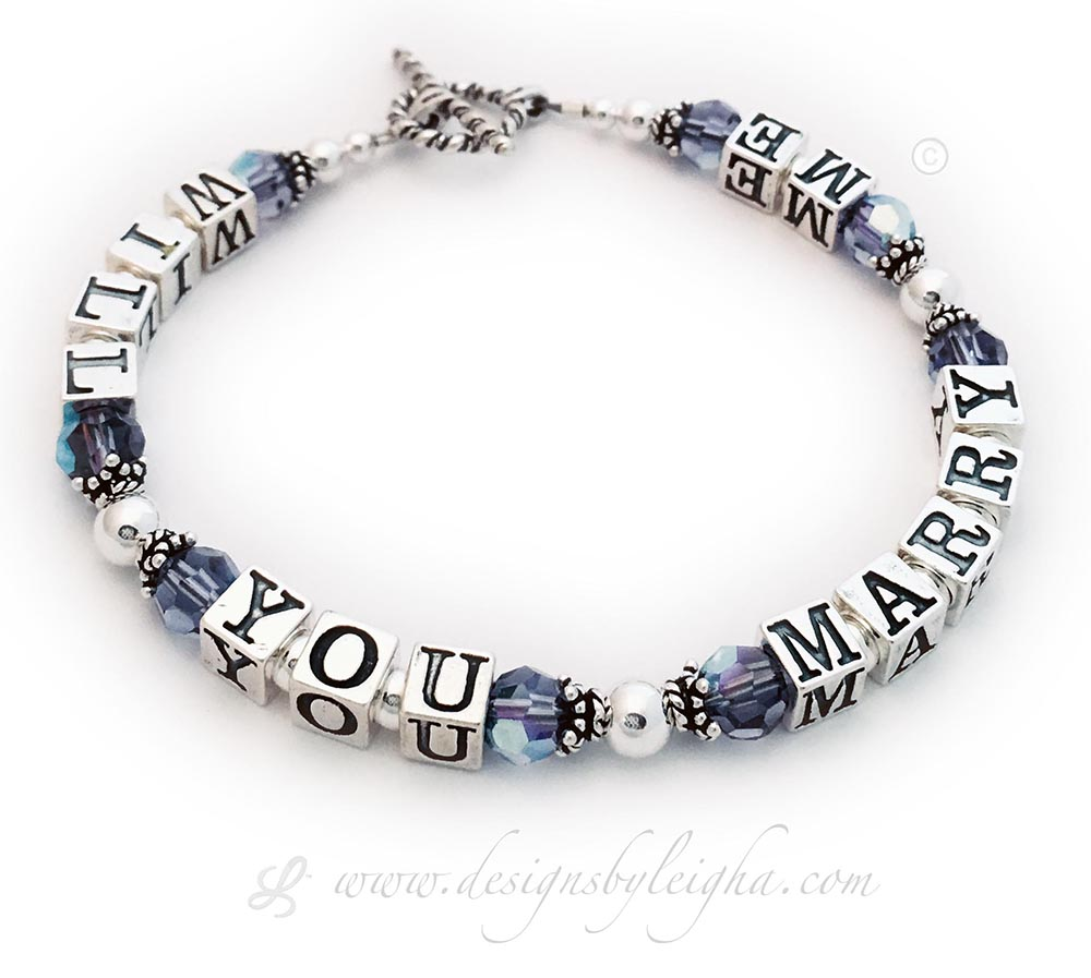 Will You Marry Me Bracelet shown with Purple Crystals