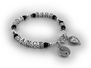 I HOPE YOU DANCE with black Swarovski crystals, a Yin Yang charm and a Large Beaded Heart Charm.