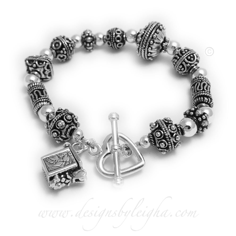 Prayer Box Bracelet with a Prayer Box Charm and a Heart Toggle Clasp