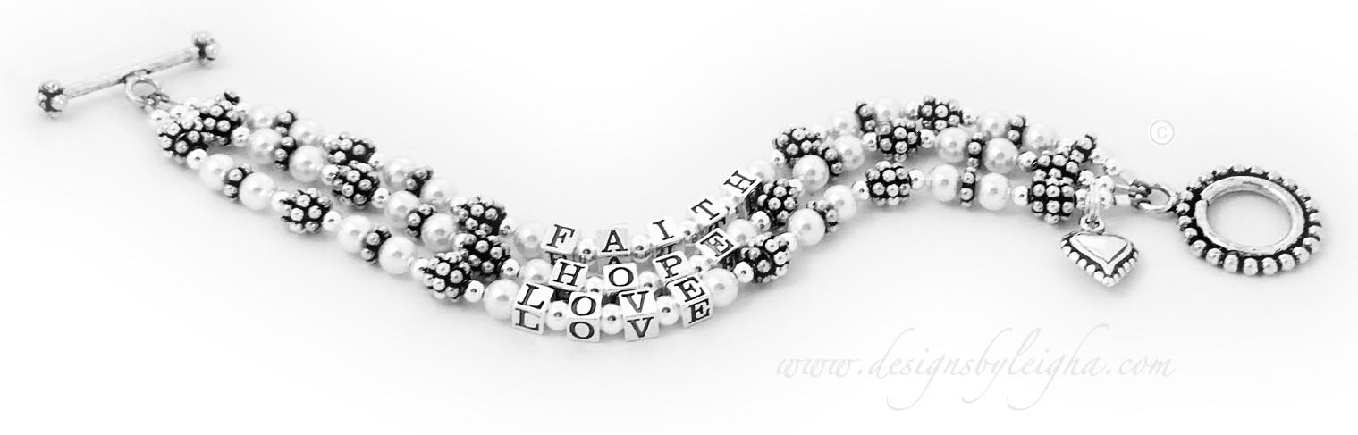 3-String Sterling Silver Faith Hope Love Message Bracelet