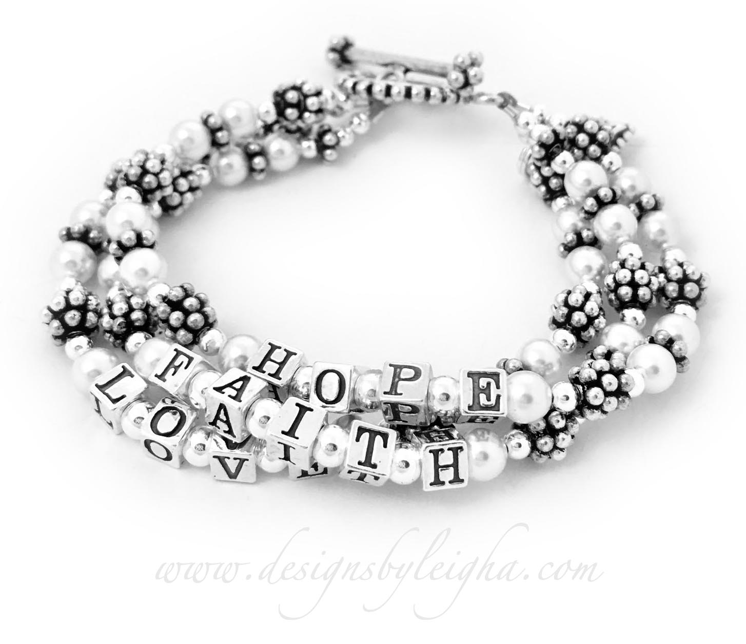 This is a 3-string Faith Hope and Love Bracelet shown with a Beaded Heart Charm.
