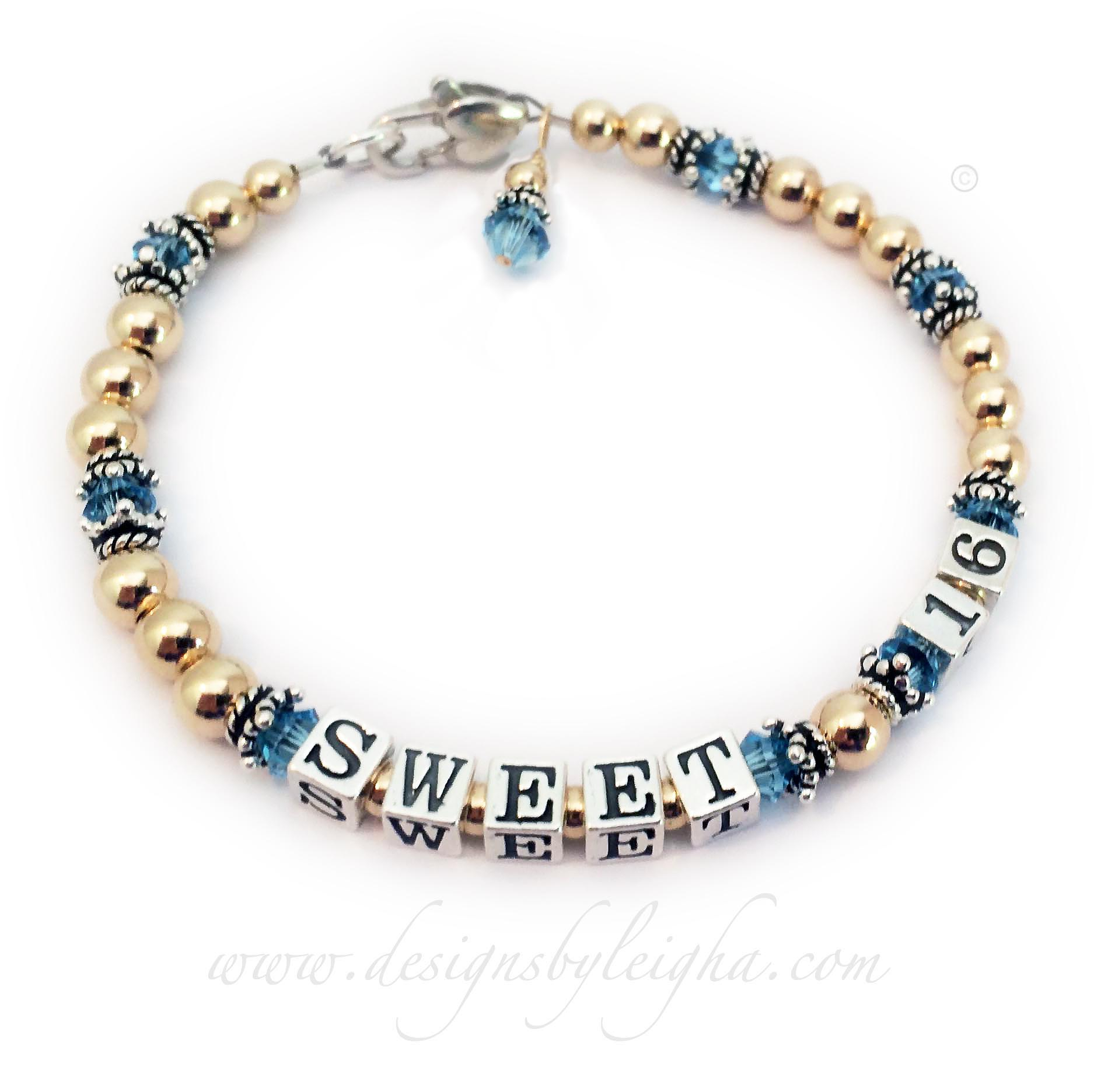This is a Gold Aquamarine or March (you choose the birth month) Swarovski crystal Sweet 16 bracelet for a beautiful birthday girl. You can choose any color Swarovski crystals or multiple colors (e.g. school or team colors) and can customize and personalize it with sterling silver charms.