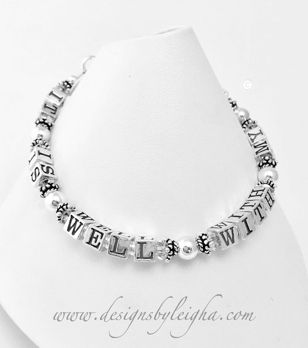 This It Is Well With My Soul Bracelet is shown with Clear (April Birthstone) Swarovski Crystals.