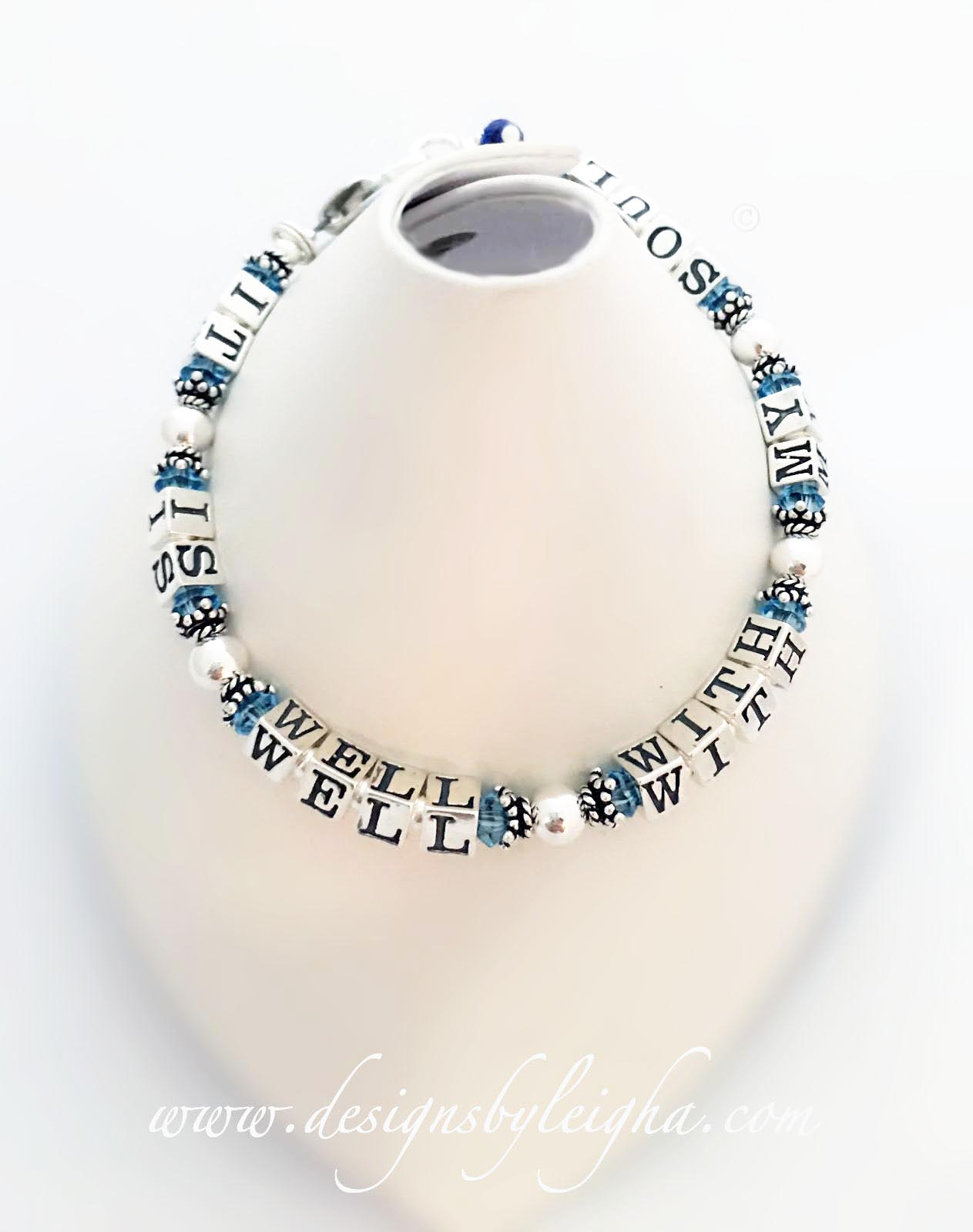 DBL-MB-5 It Is Well With My Soul Bracelet shown with March or Aquamarine Swarovski Crystals.