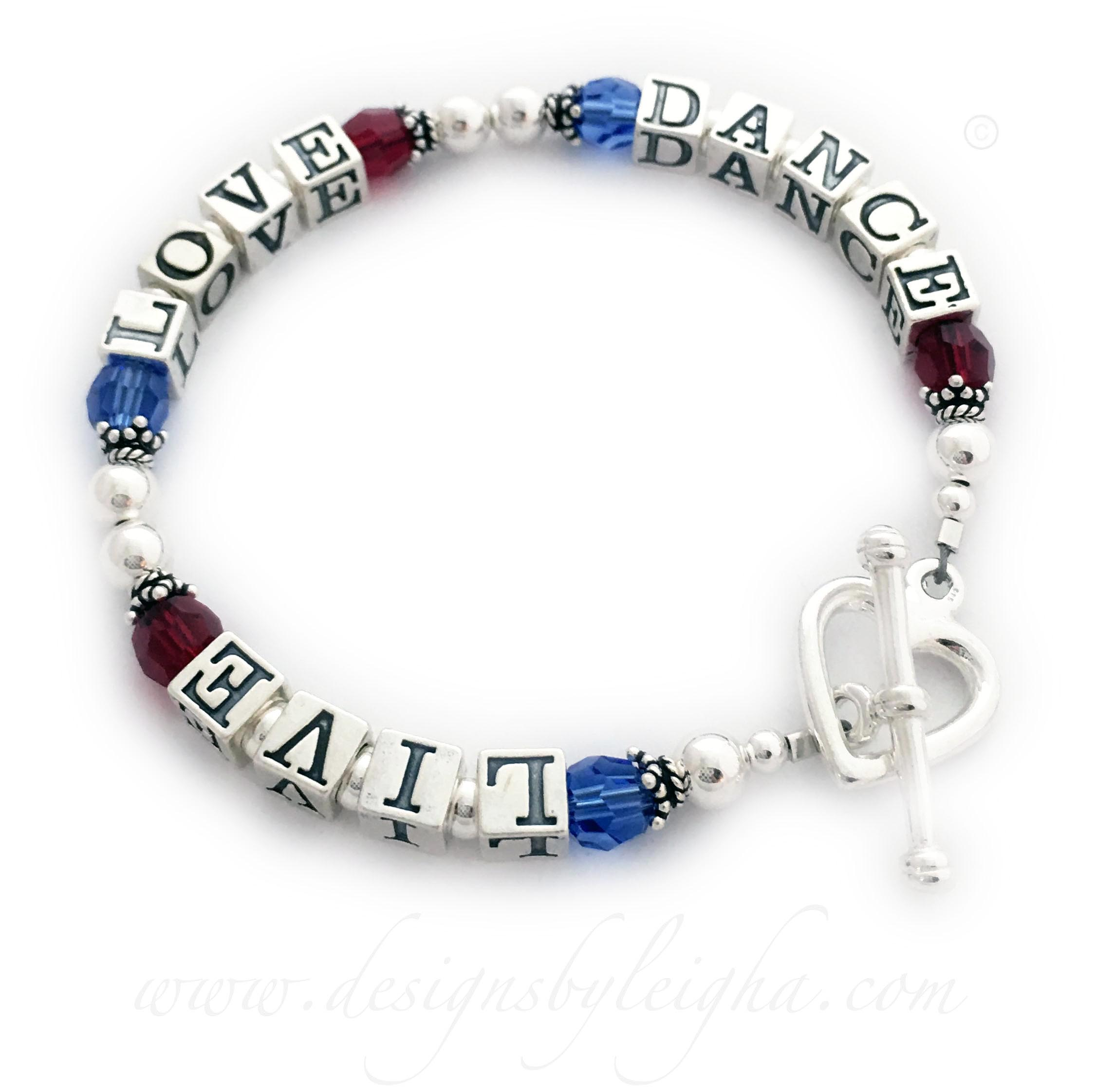 This Live Love Dance Bracelet is shown with blue and red Swarovski crystals. The beads are all .925 sterling silver. You choose the message, clasp and color of the crystals during the ordering process. You may also add charms. They upgraded to a Heart Toggle Clasp.