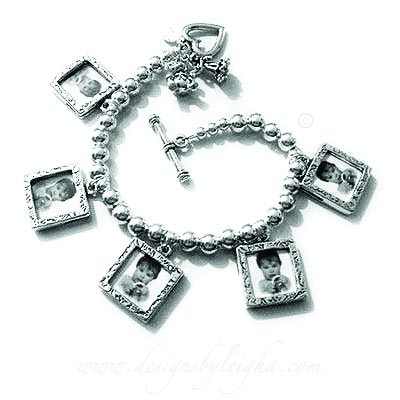 Nana Bracelet with baby boy booties and a birthstone crystal charm
