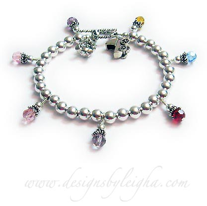 DBL-CB11-build 7 Birthstone Charm Bracelet Order: 7 Birthstone Crystal Dangles, A Teddy Bear Charm and a Baby Carriage Charm.