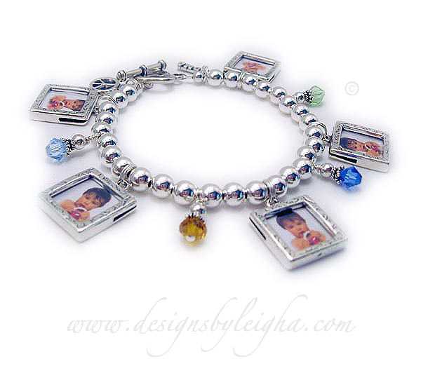 This bracelet comes with 5 square sterling silver picture frame charms included in the price. They added: Peace Sign, 4 BICONE Birthstone Crystal dangles and a Grandma charm (the Grandma charm is hard to see) and they upgraded to a Heart Toggle clasp.