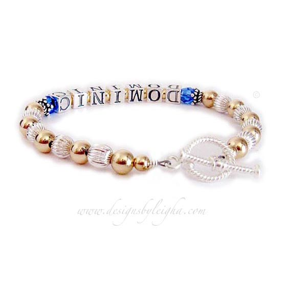 Dominic Gold Mother Bracelet with September or Sapphire Birthstone Crystals - DBL-G1-1string