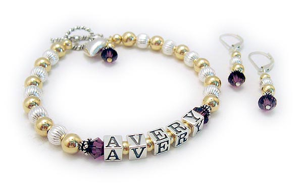 This bracelet is shown with a 4 add-ons; Puffed Heart Charm, February or Amethyst Bicone Birthstone Crystal Dangle and Earrings. It is shown with one of my free Twisted Toggle clasps and free February / Amethyst crystals before and after AVERY.
