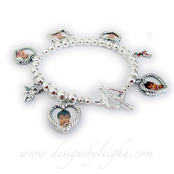 Photo Frame Charm Bracelet  DBL-CB10-build Order: 1-Square Picture Frame Charm, 4-Heart Picture Frame Charms, Angel with Wings, Autism Ribbon