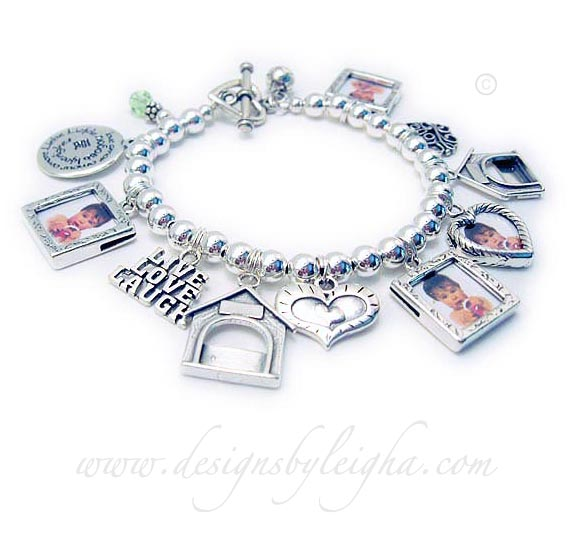 DBL-AR-CB10-Dog Lover buildPhoto Frame Charm Bracelet Order: 3-Square Textured Picture Frame Charms, 1-Birthstone Crystal Dangle, LIVE LOVE LAUGH charm, 2-Dog Frame Charms, Heart within a Heart Charm, Love Filigree Charm, Basketball Charm. This bracelet is shown with an upgraded Heart Toggle Clasp.