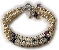 2 name gold and sterling silver bracelet with childrens names