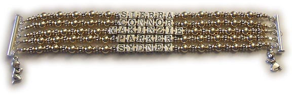 5 string gold mothers bracelet with 5 childrens names