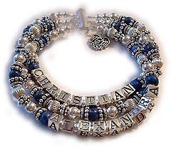 Lapis Lazuli 3-string Mothers Bracelet with MOM Charm shown with a 3 string slide clasp.