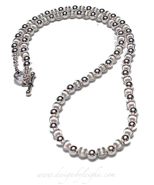 Fulled Beaded Sterling SIlver Necklace - coordinates with the DBL-SS1-Bracelet