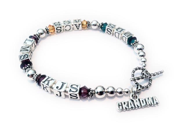 DBL-MB2 - Monogram Birthstone Bracelet for Grandma  DDS/May ACS/Nov LMS/Feb KJS/Feb Shown with a Twisted Toggle clasp and an add-on GRANDMA charm.