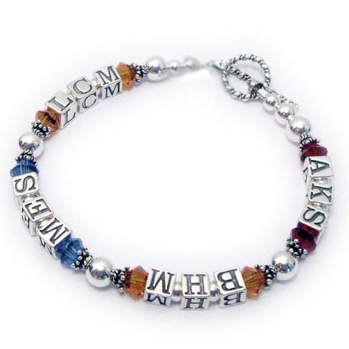 Birthstone Monogram Bracelet DBL-MB3 AKS/Jul BHM/Nov MES/Sep LCM/Nov