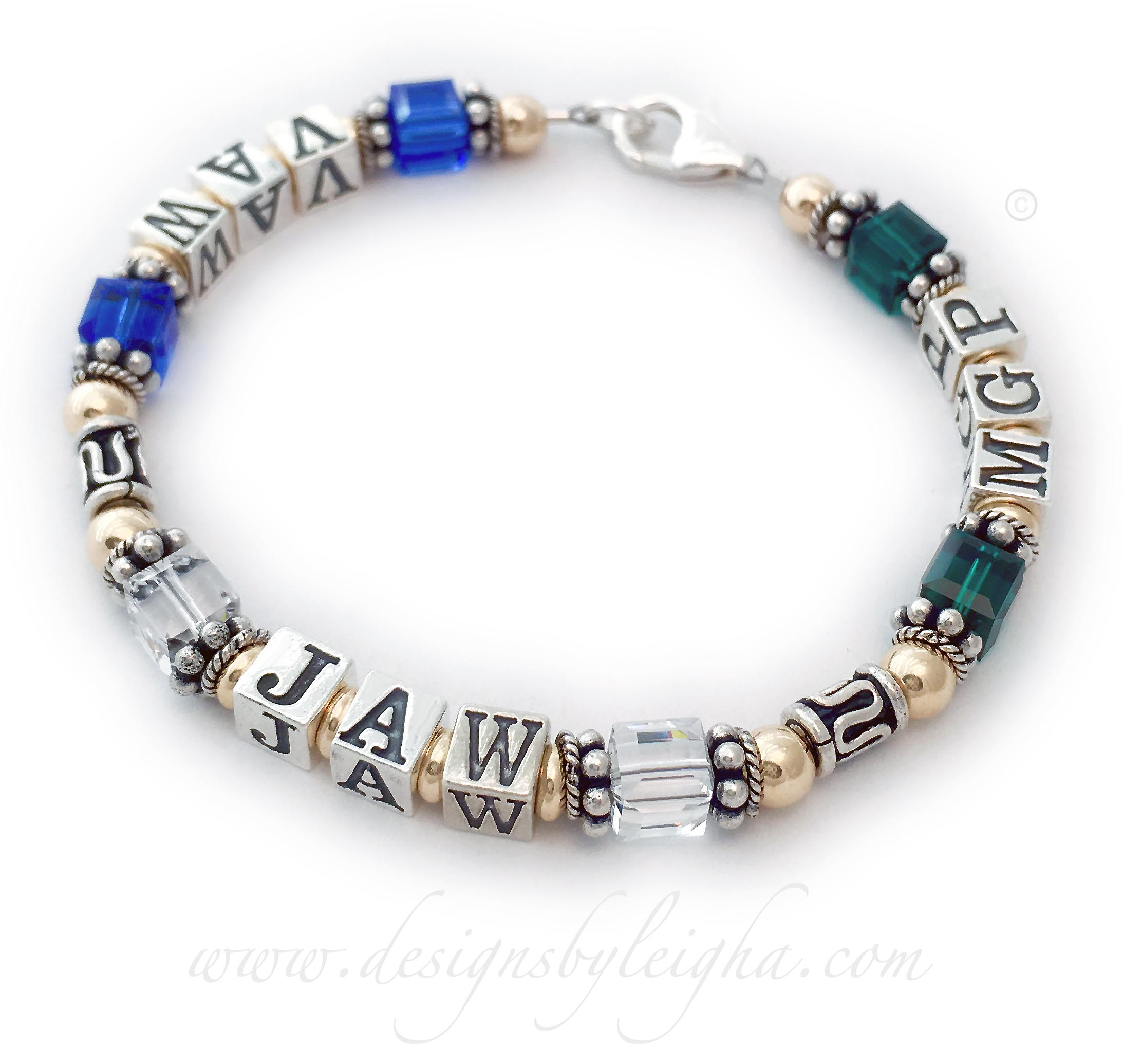 This Gold Monogram Bracelet is shown with 3 kids' monograms and their birthstones on a 1-string bracelet.