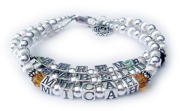 3 Name Mothers Bracelet with Birthstone Crystals