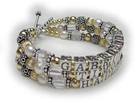 3 string gold mothers bracelet with 3 childrens names and April birthstone crystals