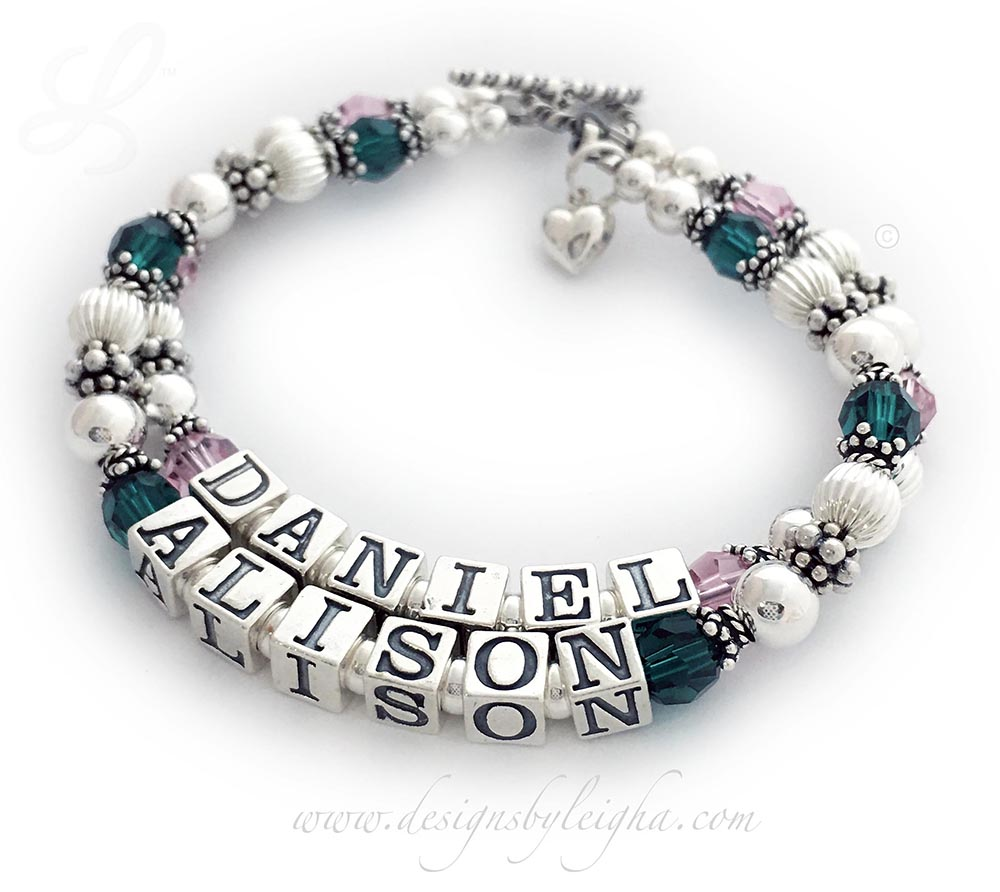 This 2-string Mother or Grandma Birthstone Bracelet is shown with 2 kids names: Daniel and Alison with Opal or October Birthstones and Emerald or May Swarovski Birthstone Crystals.