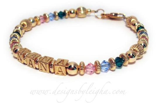 NANA Bracelet with birthstone crystals of grandkids