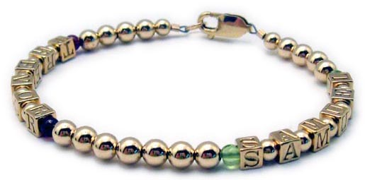 Gold Mothers Bracelet with Trevor and Garnet Beads and Samuel with Peridot Beads