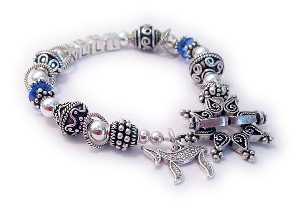 DBL-SS3	String Bracelet Enter: Name in Hebrew/September They added a Star Clasp and a Chai charm.