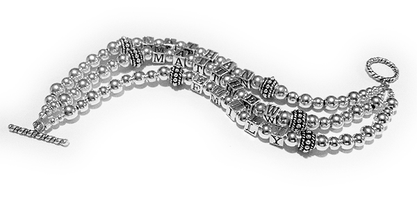 DBL-SS2-3	String Bracelet Ethan, Matthew and Emily 3-string Grandmother Bracelet with a Twisted Toggle Clasp.
