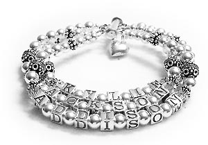 3 string silver mothers bracelet with slide clasp