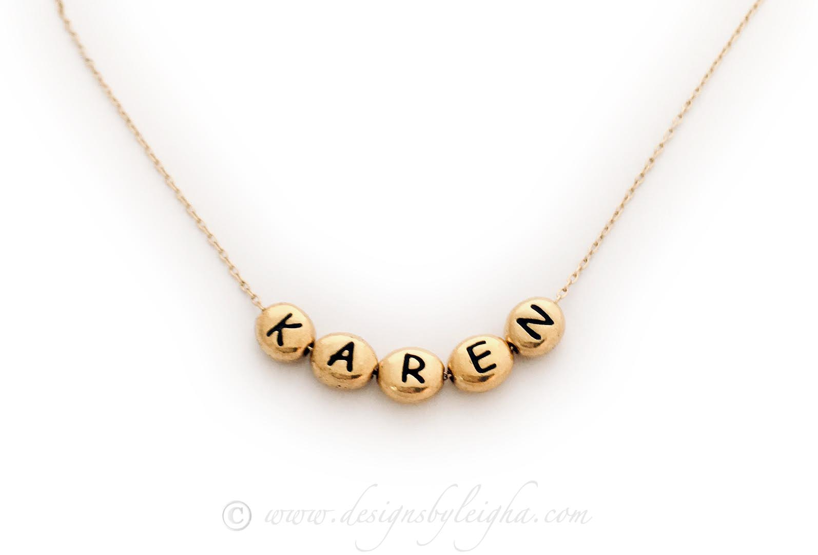 Gold Block Name Necklace with Gold Block Letters on a Gold Chain - DBL-NGold-Blocks - KAREN and 5 gold block letters