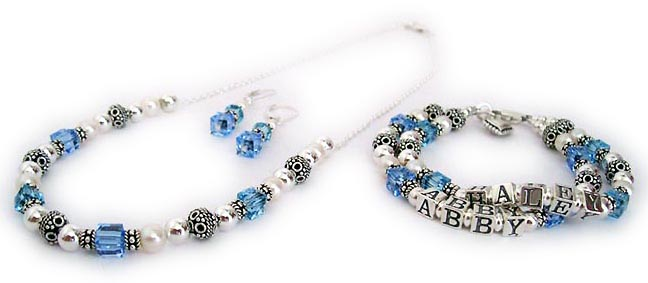 DBL-SS6-Necklace shown with December and March Birthstone Crystals (Blue Topaz and Aquamarine)