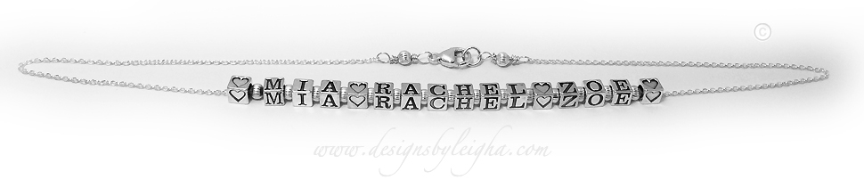 3 name necklace - Mia Rachel and Zoe with Heart Blocks