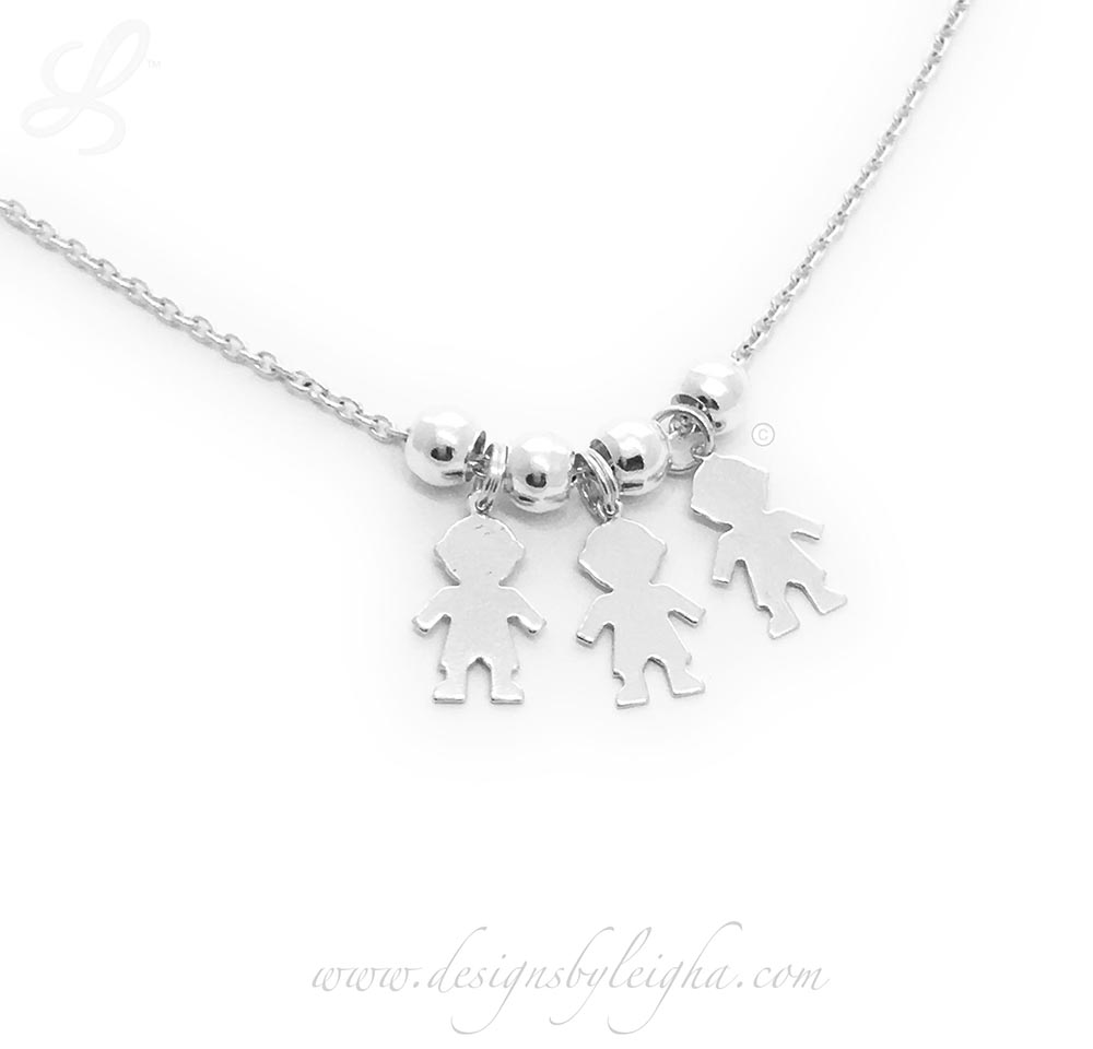 Baby Boy Charm Necklace - Mom of 3 Boys Charm Necklace