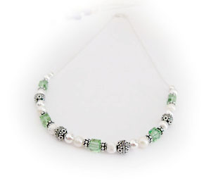 Mothers Bracelet with Emerald Green Swarovski crystals