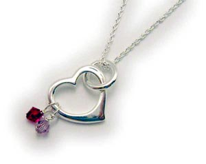 Sterling Silver Heart Birthstone Necklace