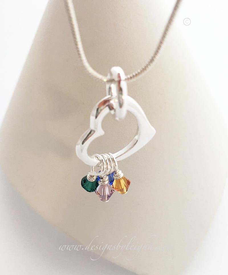 Crystal Heart Birthstone Necklace with a May or Emerald, June or Alexandrite, Septeember or Sapphire and November or Topaz Birthstone Charms