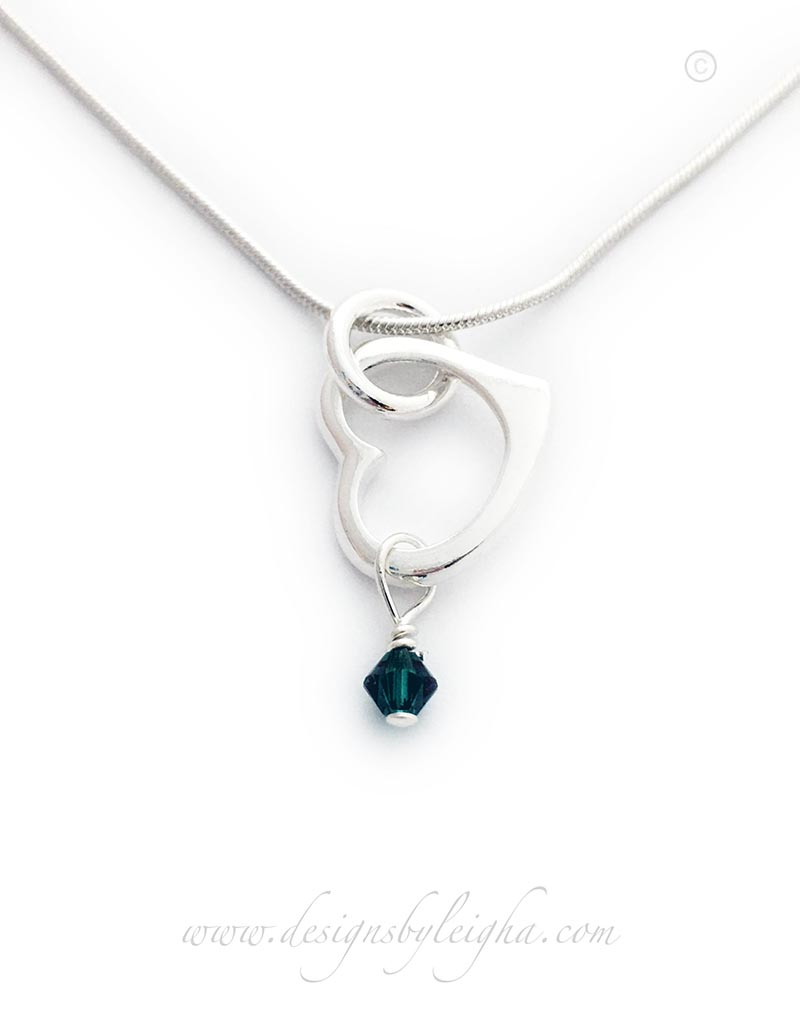 Crystal Heart Birthstone Necklace with a May or Emearld Birthstone Charm