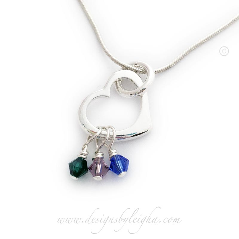 Crystal Heart Birthstone Necklace with a May or Emerald, June or Alexandrite, September or Sapphire Birthstone Charms
