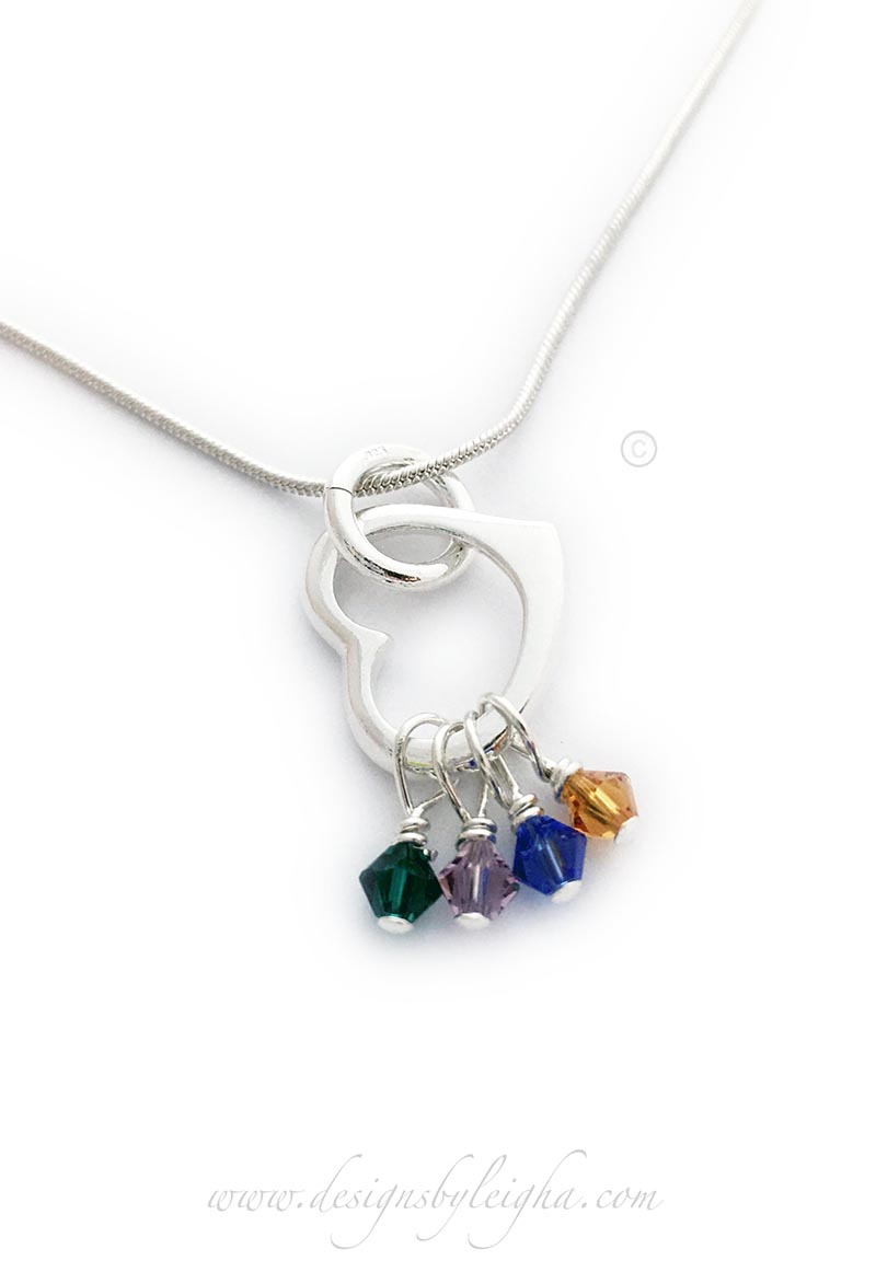 Crystal Heart Birthstone Necklace with a May or Emerald, June or Alexandrite, September or Sapphire and November or Topaz Birthstone Charms