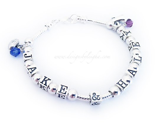 Pandora style bracelet with kids names, birthstones and charms - Jake, Haley, football and cheer charms shown.