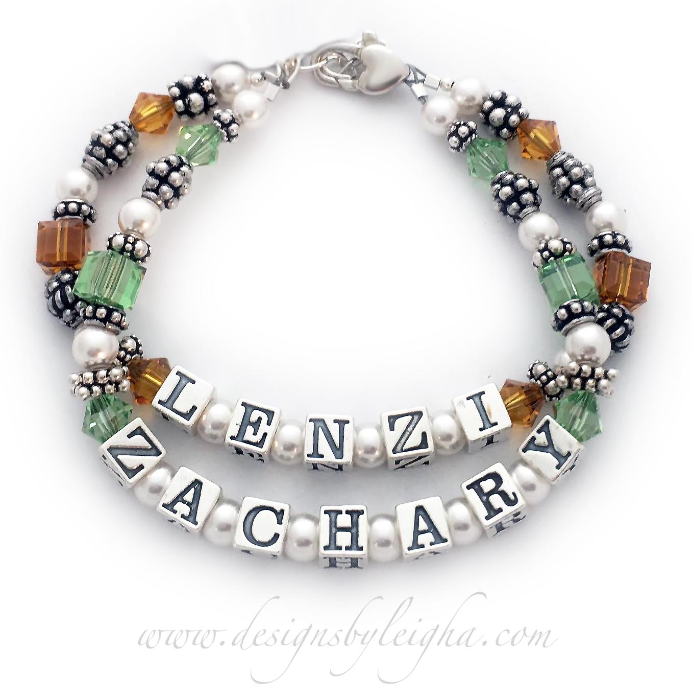 This 2 name 2 string Birthstone Mother Bracelet is shown with Lenzi and November Birthstones and Zachary with August Birthstones.