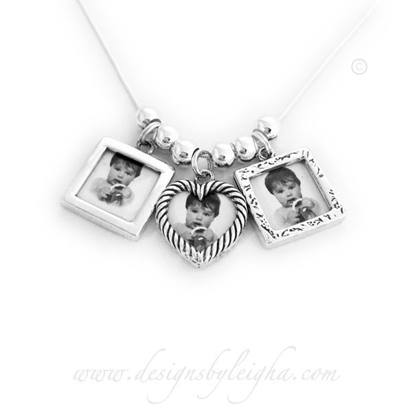 Picture Frame Charm Necklace with 3 Photo Frame Charms